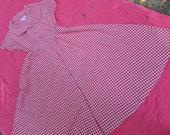 STARTSUMMERSALE Red Gingham Check Midi Dress/Vintage 1980s 1990s/Retro Full Skirt Summer Dress/Size Small