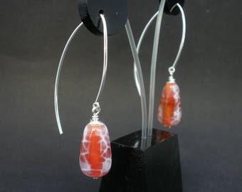 Red Fire Agate Dangle Earrings, 925 Sterling Silver, Fire Agate Teardrop Earrings, Crackled Agate Earrings