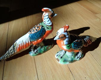 2 Vintage Hand Painted Glazed Ceramic Quail Bird Figurines with the ARDCO Fine Quality Made in Japan label with well worn developed  patina