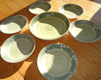 Vintage 7 Piece Pasta Bowl Set, Hand Painted, Made in Italy, with an elegant olive design in great shades of sage and olive green and white