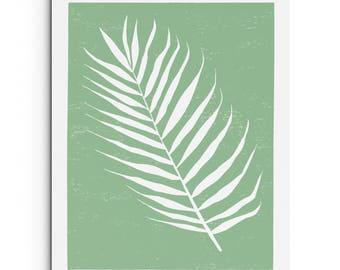 Tropical Leaf - Wall Art - Nature Illustration - Digitally Printed Wall Decor - Giclee Print - Black, Sage Green