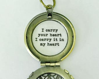 I carry your heart, i carry it in my heart locket, necklace, romantic jewelry, quote locket