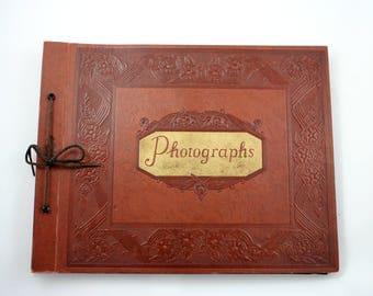 Vintage 1940s brown photo album, photographs, scrapbook, sketchbook, black pages, leather like, landscape photograph book, tied binding