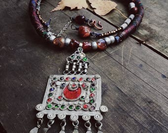 kuchi sari silk necklace | boho necklace, gypsy necklace, adjustable necklace, bohemian necklace, gypsy boho, tribal necklace
