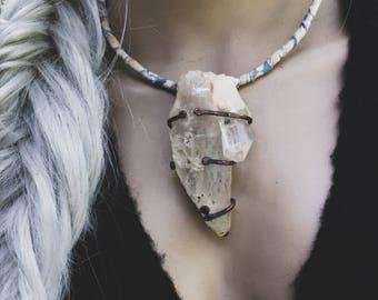 Twin scepter quartz necklace | large quartz necklace, quartz crystal, raw stone necklace, statement necklace, raw natural crystal