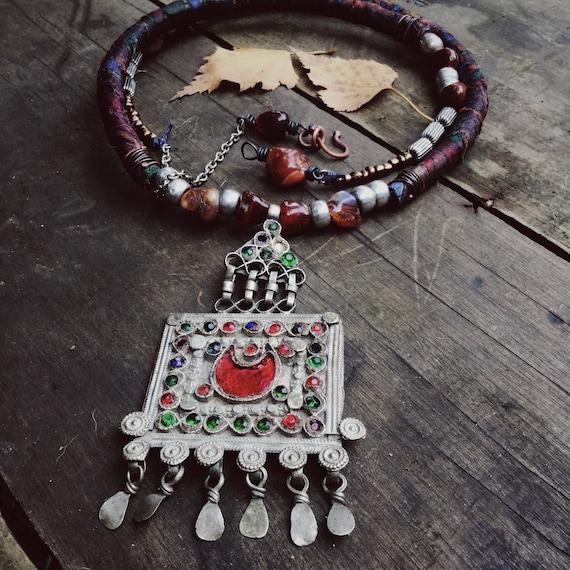 kuchi sari silk necklace   boho necklace, gypsy necklace, adjustable necklace, bohemian necklace, gypsy boho, tribal necklace