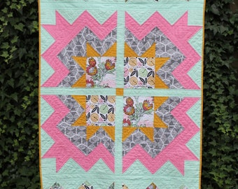Handmade Baby / Toddler Girl Quilt, Floral, Flowers, Crib Quilt, Small Lap Quilt, Modern nursery, Wheel Chair quilt, Cheerful Blossom