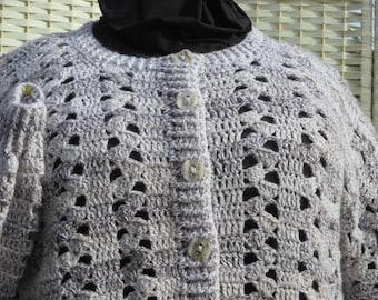 Plus Sized Crochet Cardigan In Shades Of Beige.