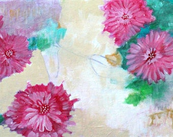 "Loose Abstract Floral, Original Acrylic Painting, Abstract Art ""July Cheer"" 12x24"""