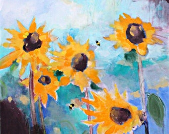 "Abstract Floral Painting, Cheerful Colorful Original on Canvas Bold Sunflowers ""Free Joy"" 30x30"""