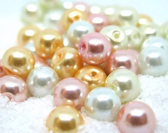 40 Pcs - Peaches and Cream Assorted Color Glass Pearl Beads - 8mm in diameter, hole: 1.5mm