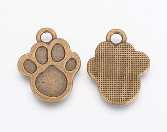 Antique Brass PAW Charms / Pendants