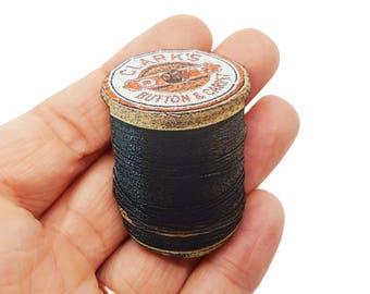 Black Cotton Reel Tailor Dress Maker Sewing Cross Stitcher Brooch Pin Badge Jewellery Gift For Her Stocking Filler Jewellery Accessories
