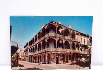 New Orleans Postcard 6 by 9 Vintage Lace Balconies of Royal Street Nola city Louisiana Never Used Large Oversized Color 1970s Plattermatter