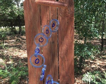lt blue, blue GLASS WINDCHIMES from RECYCLED bottles, eco friendly, garden decor, wind chimes, mobiles, windchimes, soothing music