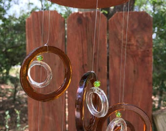 lt brown, clear, GLASS WINDCHIMES- RECYCLED bottles,  garden decor, wind chimes, mobiles,  windchimes, soothing music