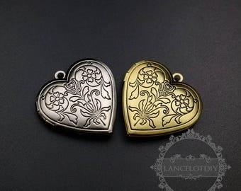 5pcs 28mm vintage style antiqued silver,bronze flower engraved heart shape photo locket pendant charm DIY supplies 1131056