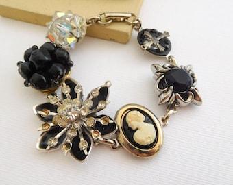 Vintage Black Bead Rhinestone Flower Cameo Victorian Charm Alt Art Bracelet FF6