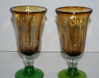 on sale Vintage amber and green glass water goblets, iced tea glasses  stemware