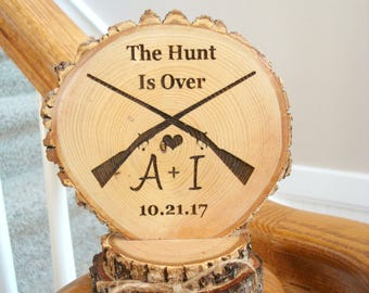 Hunt is Over Wedding Cake Topper, Rustic Rifles Hunting Cake Topper, Personalized Wedding Topper, Rustic Wedding Decoration, Rustic