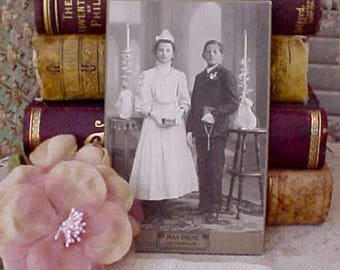 Charming Late Victorian Photograph of German Children at First Communion