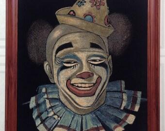Vintage black velvet clown painting in frame