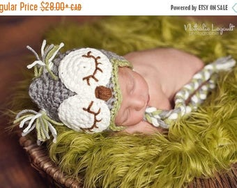 Happy Birthday sale Owl hat for baby gray/green/brown. Crochet sleepy