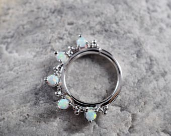 Five stone White Opal with cluster trinity ball hoop Daith earring / Cartilage / Septum ring / Nose ring