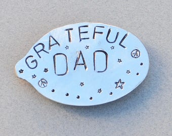 GRATEFUL DAD // MAGNET Stamped Spoon recycled // Peace Sign Stars Dots * Great gift for Dad * Grateful Dead Gift * Stocking Stuffer *