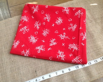 """Adorable Tic Tac Toe Fabric with Hearts Red Background White Writing Hearts Instead of O's  Fabric Traditions  45"""" by 38"""""""