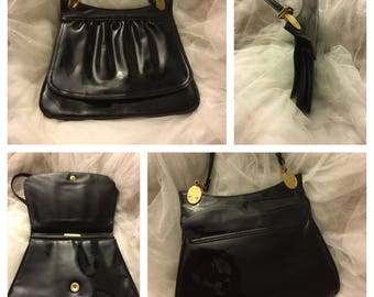 Vintage black patent leather purse, Retro patent leather purse, patent leather bag
