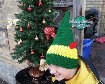 SUMMER SALE Buddy the Elf Inspired Hat - Crochet Newborn Boy Girl Costume Halloween Photo Prop Christmas Gift Winter Outfit Baby Adult Child