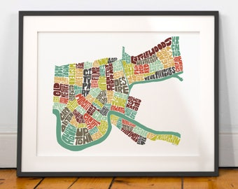 New Orleans typography map, new orleans map art, new orleans neighborhoods, new orleans print, new orleans gift idea, NEW VERSION!!