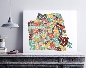 San Francisco Canvas Art, Typography Map Art Formed by San Francisco Neighborhoods, San Francisco Decor, Stretched Gallery Wrap Canvas Print