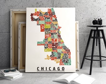 Chicago neighborhoods canvas print, Chicago map art print, Chicago typography art, Chicago décor, Chicago art gallery wrapped canvas