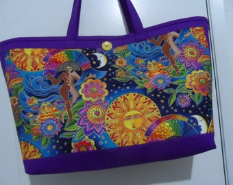 Laurel Burch Large Tote Bag - Oceanic Laurel Burch Bag  - Moon & Stars Tote Bag - Laurel Burch Print - Handbag Tote Bag - Market Tote Bag