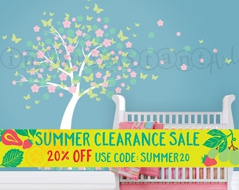 Cherry Blossom Wall Decal | Blowing Butterflies | Custom Color | Custom Nursery and Children's Room Interior Design | Easy Application 043