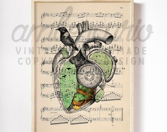 Wings of Time Heart Chamber Map Eclectic Collage Print on an Antique Upcycled Bookpage Unframed