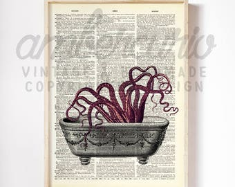 Octopus Time to Clean the Bathtub Tentacle SciFi Digital Original Collage Print on an Unframed Upcycled Bookpage