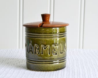 Marmalade jar with lid, vintage Swedish sixties storage, green and brown kichen decor