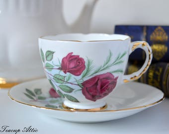 Delphine Teacup And Saucer with Large Red Roses, English Vintage Bone China Tea Cup and Saucer, ca. 1950