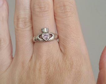 Vintage Sterling Silver Claddagh Ring - Size 6 - Handmade 925 Sterling Silver Pink Topaz Ring, Gemstone Ring, Irish Wedding Band, Topaz Ring