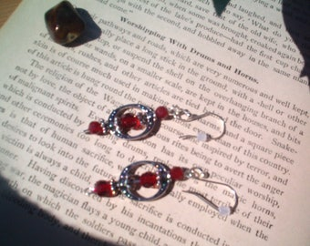 Romantic Red & Silver Earrings, Beaded, Quaint, Romantic, Ornate, Dainty, Victorian Style, Handcrafted, Drop Pierced Red Earrings
