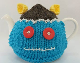 Frankenstein's Tea Cosy - Turquoise, Brown and Yellow