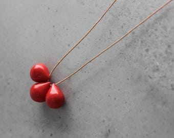 Handmade ceramic drop beads - red pendant necklace - long necklace