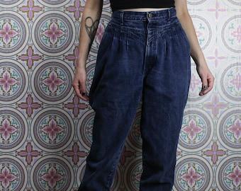 80's Chic Pleated Jeans, High Waisted Dark Blue Denim, Size Small 29 Waist
