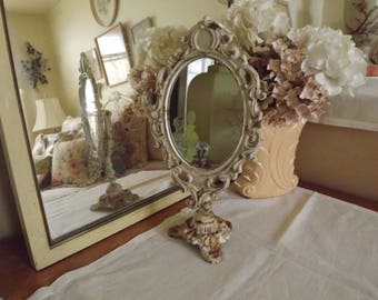 Wrought Iron Oval Standing Mirror, Cream Color, Rusty & Chippy, French Country, Shabby Chic Style, Circa 1970's