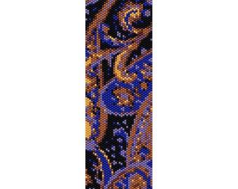 Abstract 12 Peyote Bead Pattern, Bracelet Cuff Pattern, Bookmark, Seed Beading Pattern Miyuki Delica Size 11 Beads - PDF Instant Download