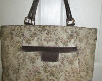 Vintage French Tapestry Suede tote Bag Handcrafted in  San Francisco California