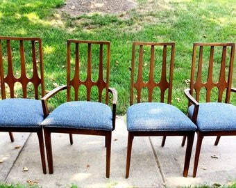 Broyhill Brasilia Walnut Dining Chairs (Set of 4) Mid Century Modern